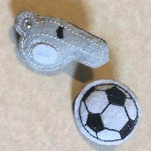 Jewelry - Felt Soccer Brooch Coach Set Ball Whistle Pin 2